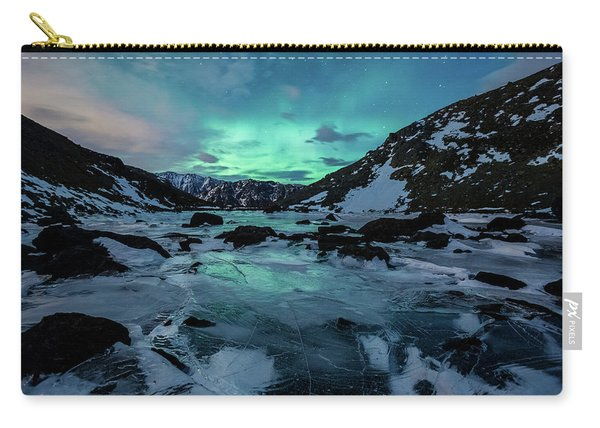 Carry-all Pouch featuring the photograph Gale-force Aurora H by Tim Newton