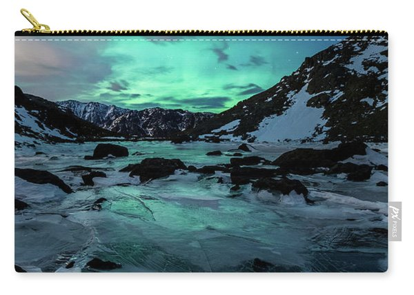 Carry-all Pouch featuring the photograph Gale-force Aurora V by Tim Newton
