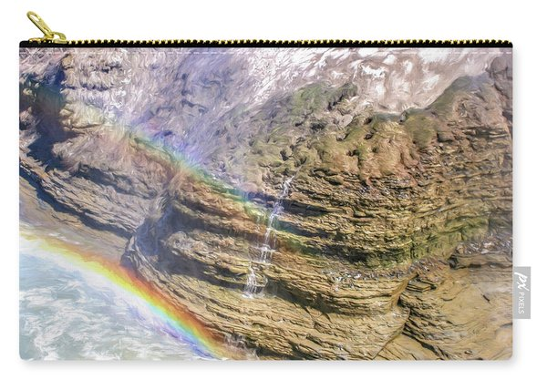 Genesee River With Rocks And Rainbow Carry-all Pouch