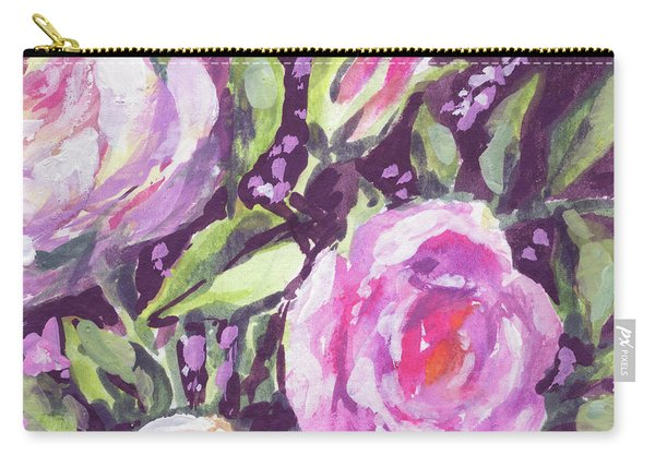 Gentle Pink Floral Impressionism  Carry-all Pouch