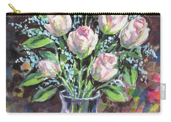 Gentle Pink Roses Bouquet Floral Impressionism  Carry-all Pouch