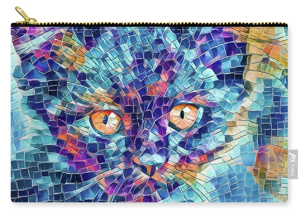 Carry-all Pouch featuring the digital art Giant Head Mosaic Colorful by Don Northup