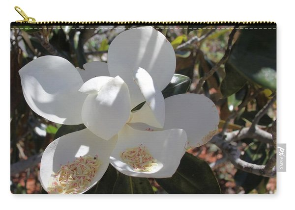 Gigantic White Magnolia Blossoms Blowing In The Wind Carry-all Pouch