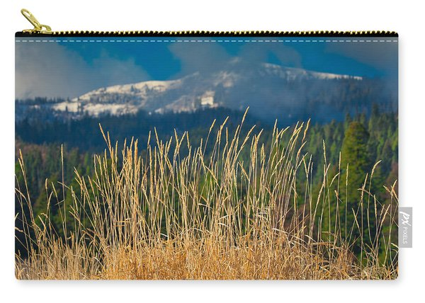Gold Grass Snowy Peak Carry-all Pouch