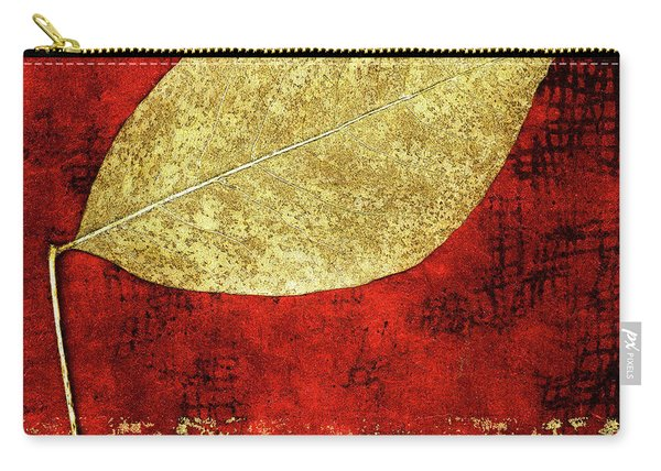 Golden Leaf On Bright Red Paper Square Carry-all Pouch