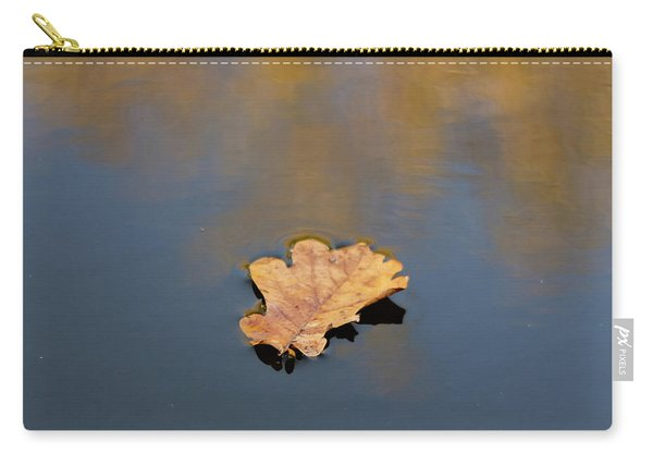 Carry-all Pouch featuring the photograph Golden Leaf On Water by Scott Lyons