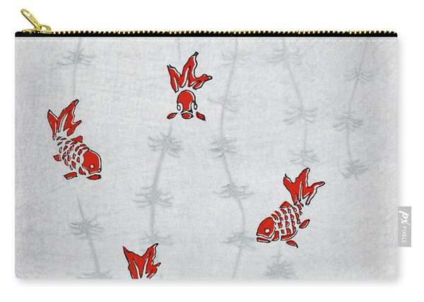 Goldfish And Aquatic Plant - Japanese Traditional Pattern Design Carry-all Pouch