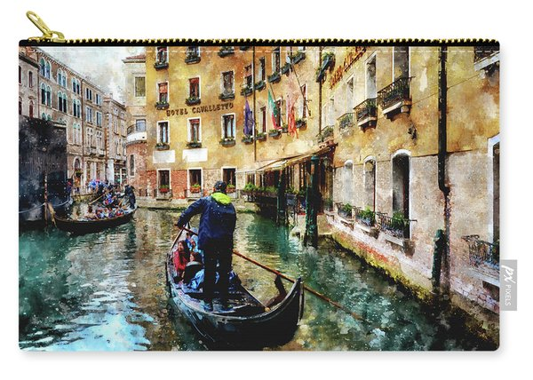 Gondola Traffic Near Piazza San Marco In Venice, Italy - Watercolor Effect Carry-all Pouch