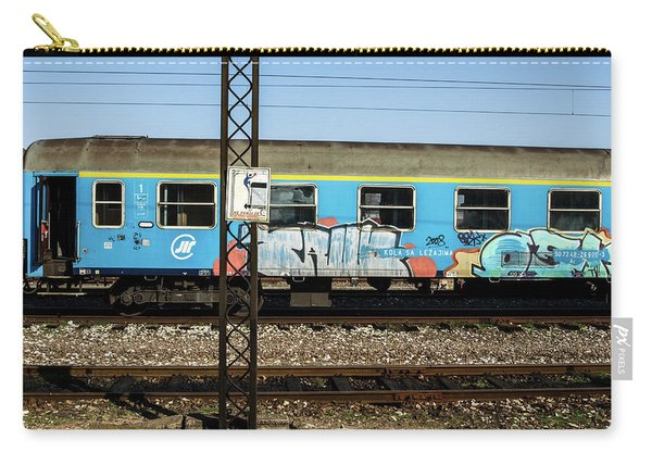 Carry-all Pouch featuring the photograph Graffitied Train by Edward Lee