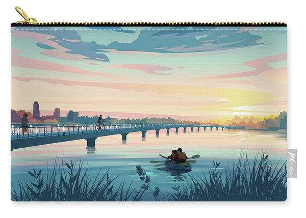 Carry-all Pouch featuring the drawing Grays Lake by Clint Hansen