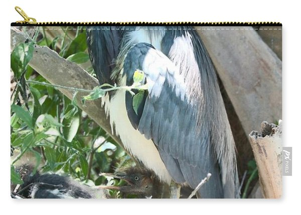 Great Blue Heron On Nest With Baby Carry-all Pouch