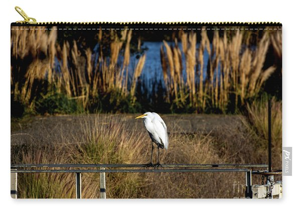Great Egret Posing By Golden Pampas Grass Carry-all Pouch