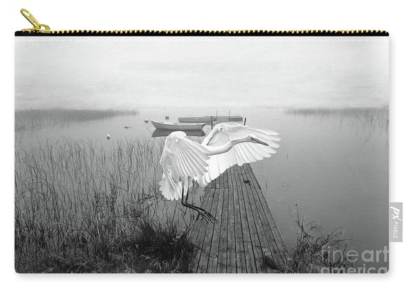 Great White Heron Landing Bw Carry-all Pouch