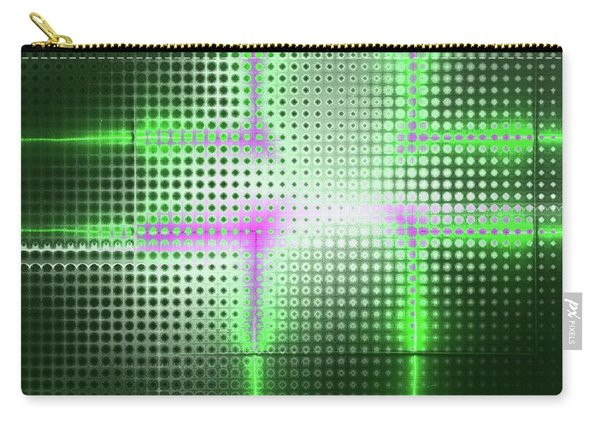 Green Aluminum Sparkling Surface. Metallic Geometric Abstract Fashion Background. Carry-all Pouch