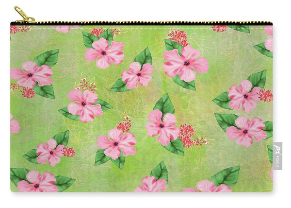 Green Batik Tropical Multi-foral Print Carry-all Pouch