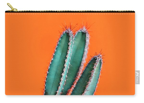 Green Cactus Closeup Over Bright Orange Pastel Background. Color Carry-all Pouch