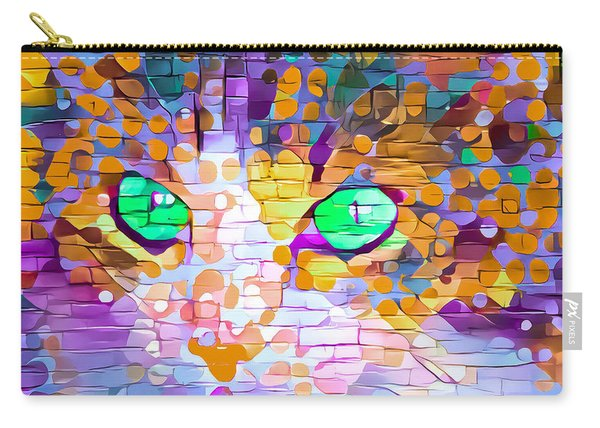 Green Eyed Cat Abstract Carry-all Pouch