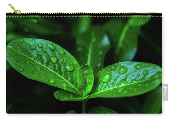 Green Leaf With Water Carry-all Pouch