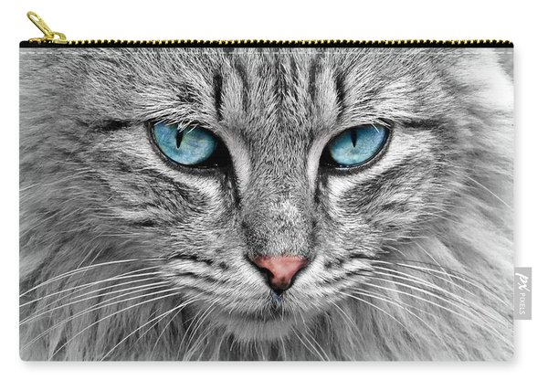 Grey Cat With Blue Eyes Carry-all Pouch