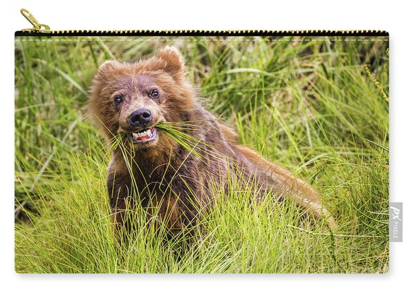 Grizzly Cub Grazing, Alaska Carry-all Pouch