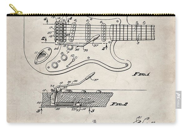 Guitar Tremelo Patent, Fender Tremelo Art - Antique Vintage Carry-all Pouch