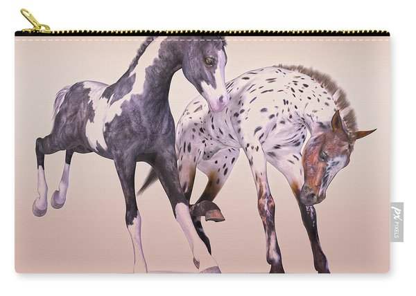Gypsy Vanner And Leopard Appaloosa Best Friends Carry-all Pouch