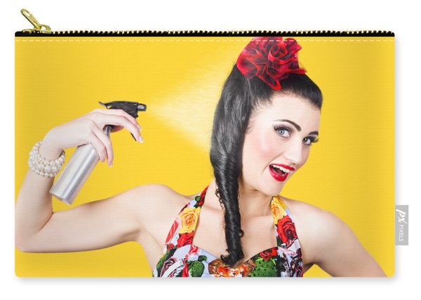 Haircare. Brunette Pinup Woman Using Hair Product Carry-all Pouch