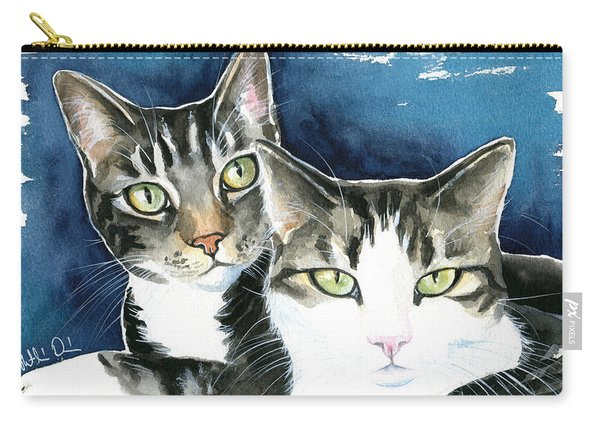 Harvey And Heidi Tabby Cat Painting Carry-all Pouch