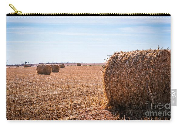 Carry-all Pouch featuring the photograph Hay Rolls by Dheeraj Mutha