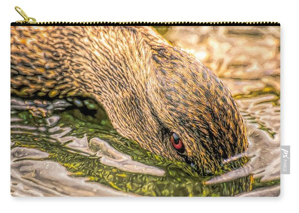 Carry-all Pouch featuring the photograph Head Dunking Duck Toned by Don Northup