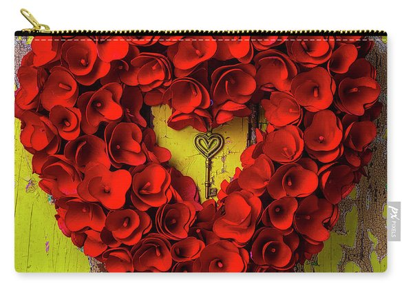 Heart Wreath And Heart Key Carry-all Pouch
