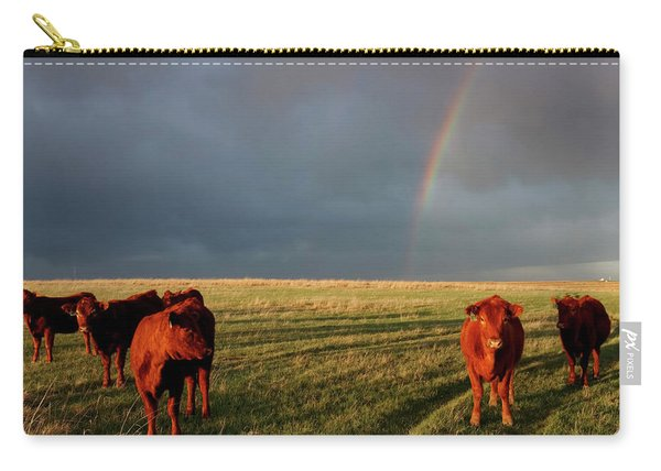 Carry-all Pouch featuring the photograph Heifers And Rainbow by Rob Graham