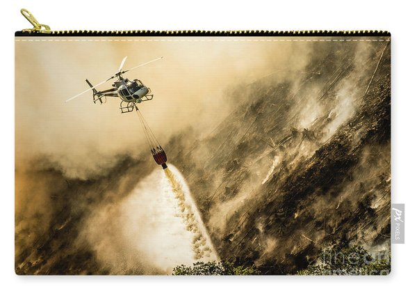Helicopter Dropping Water On A Forest Fire Carry-all Pouch