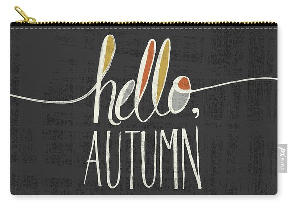 Hello Autumn Fall Art Black Background Carry-all Pouch