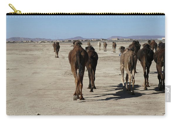 Herd Of Camels Crossing The Highway Near  Rissani Carry-all Pouch