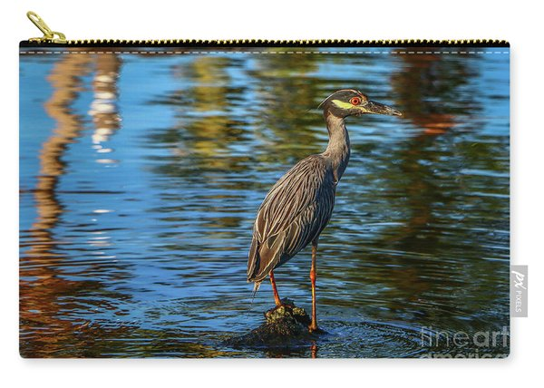 Carry-all Pouch featuring the photograph Heron On Rock by Tom Claud