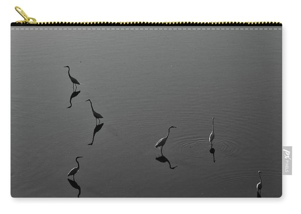 Herons On Lake 367 In Black And White Carry-all Pouch