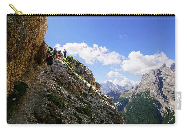 Hikers On Steep Trail Up Monte Piana Carry-all Pouch
