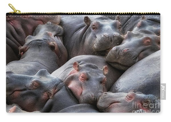 Hippo Pod Resting In The Mara River Carry-all Pouch