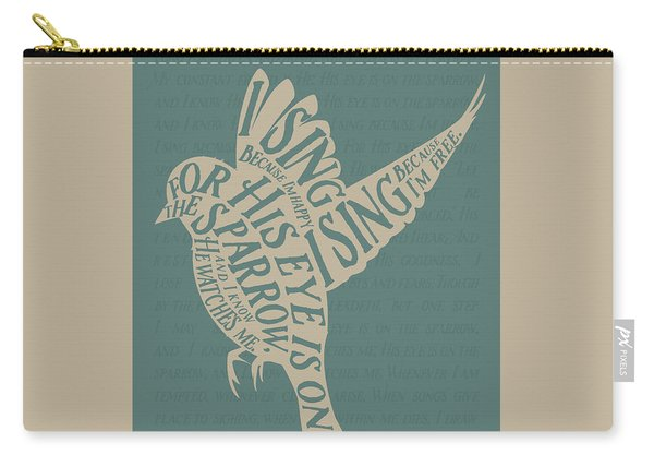 Carry-all Pouch featuring the drawing His Eye Is On The Sparrow by Clint Hansen