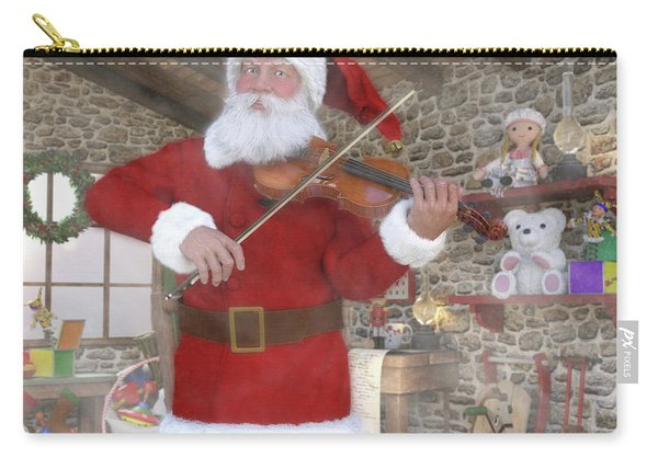 Holiday Santa Playing Violin Carry-all Pouch