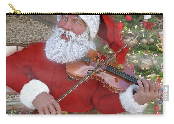 Holiday Santa Playing Violin Custom Carry-all Pouch