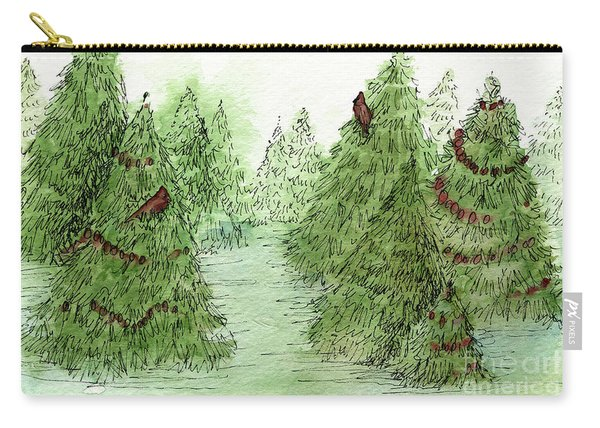Holiday Trees Woodland Landscape Illustration Carry-all Pouch