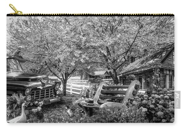 Home Is Where The Heart Is In Black And White Carry-all Pouch
