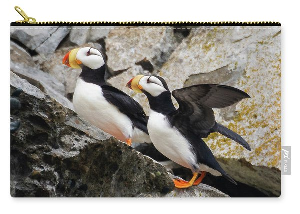 Horned Puffin Pair Carry-all Pouch