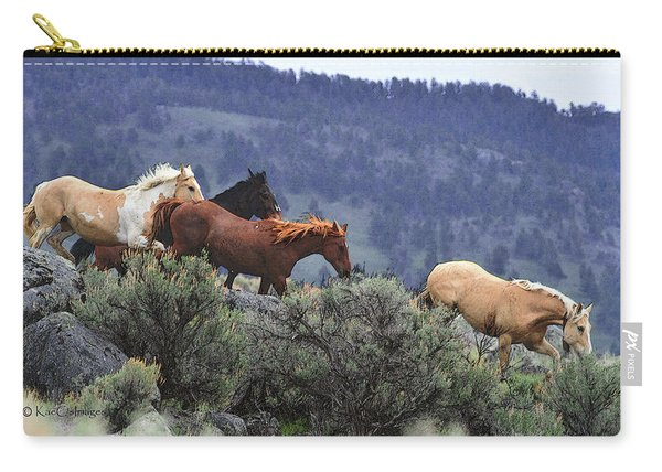 Horses On A Downhill Run Carry-all Pouch