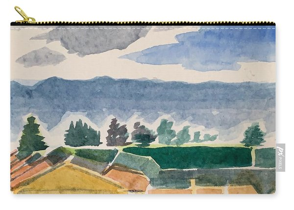 Houses, Trees, Mountains, Clouds Carry-all Pouch