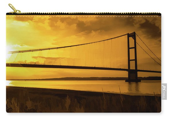 Carry-all Pouch featuring the photograph Humber Bridge Golden Sky by Scott Lyons