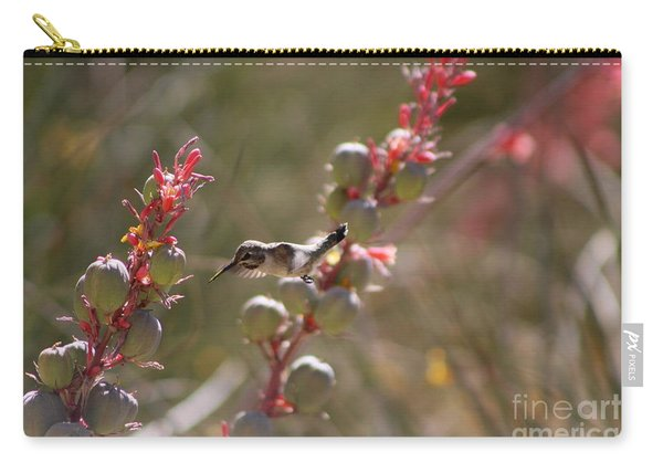 Hummingbird Flying To Red Yucca 1 In 3 Carry-all Pouch