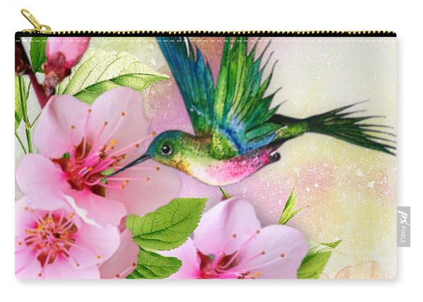Hummingbird On Pink Blossom Carry-all Pouch